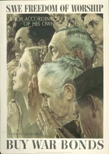 Caption: Norman Rockwell, Freedom of Worship, 1943, offset color lithograph on paper; Texas War Records Collection, 85.170.158