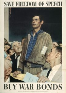 Caption: Norman Rockwell, Freedom of Speech, 1943, offset color lithograph on paper; Texas War Records Collection, 85.170.157