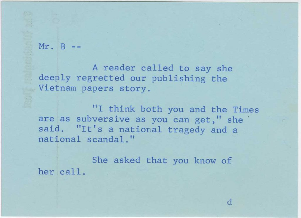 telephone message for ben bradlee 1971 concerning the pentagon papers from the benjamin c bradlee papers at the harry ransom center