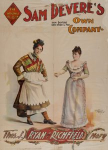 Poster for Sam Devere's Own Company, featuring Thomas Ryan and Mary Richfield, ca. 1900. Popular Entertainment Collection, Harry Ransom Center.