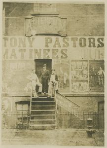 Aimé Dupont (American, 1842-1900), [Stage door of Pastor's Theatre], ca. 1877. Gelatin silver print, 16.5 x 10.8 cm. Theater Biography Collection, Harry Ransom Center.