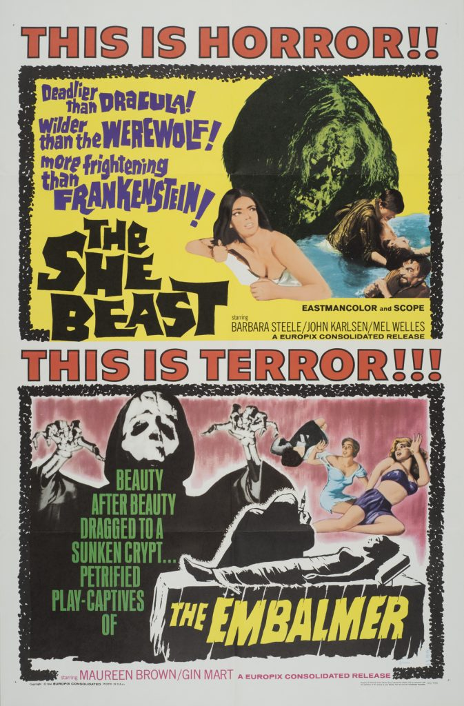 The She Beast; The Embalmer (double feature), Date: 1966, size: 27x41 inches, from the Interstate Theater Collection