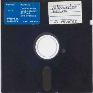 5.25-inch floppy disk from the Julia Alvarez papers, circa 1984.