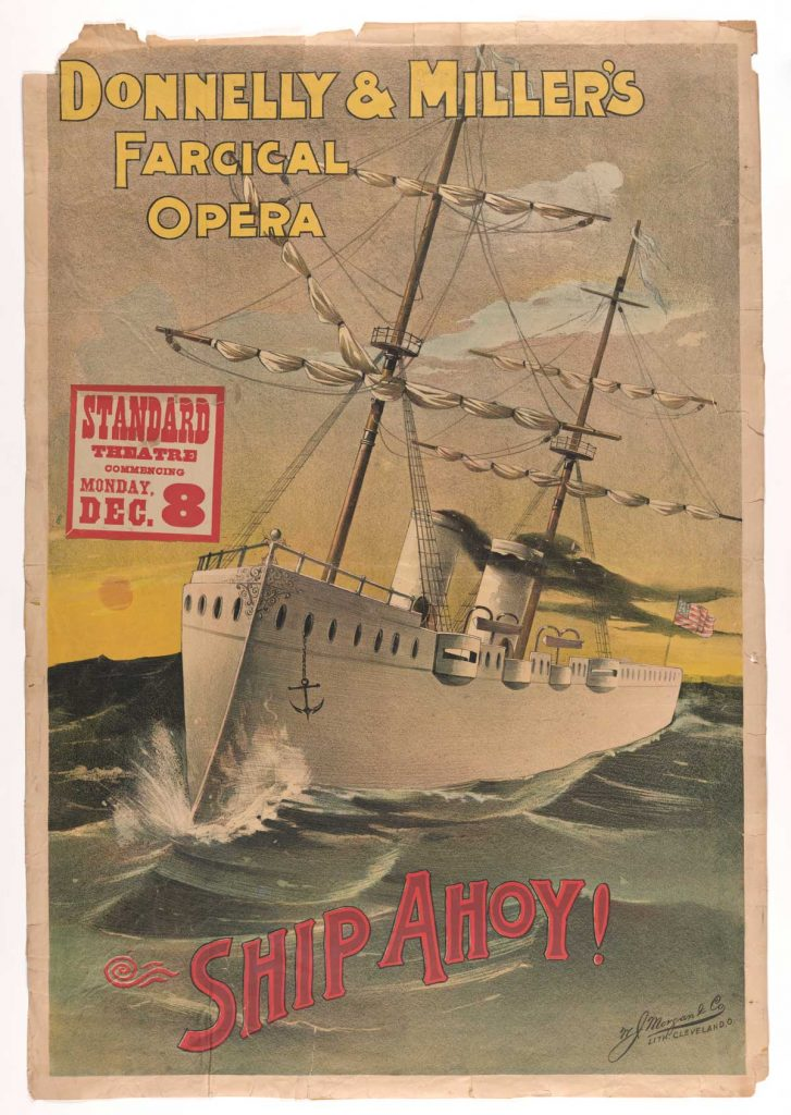 "Poster for Donnelly and Miller's ""Ship Ahoy!,"" 1890. Popular Entertainments Collection (""Musical Comedies,"" drawer 1), Harry Ransom Center"