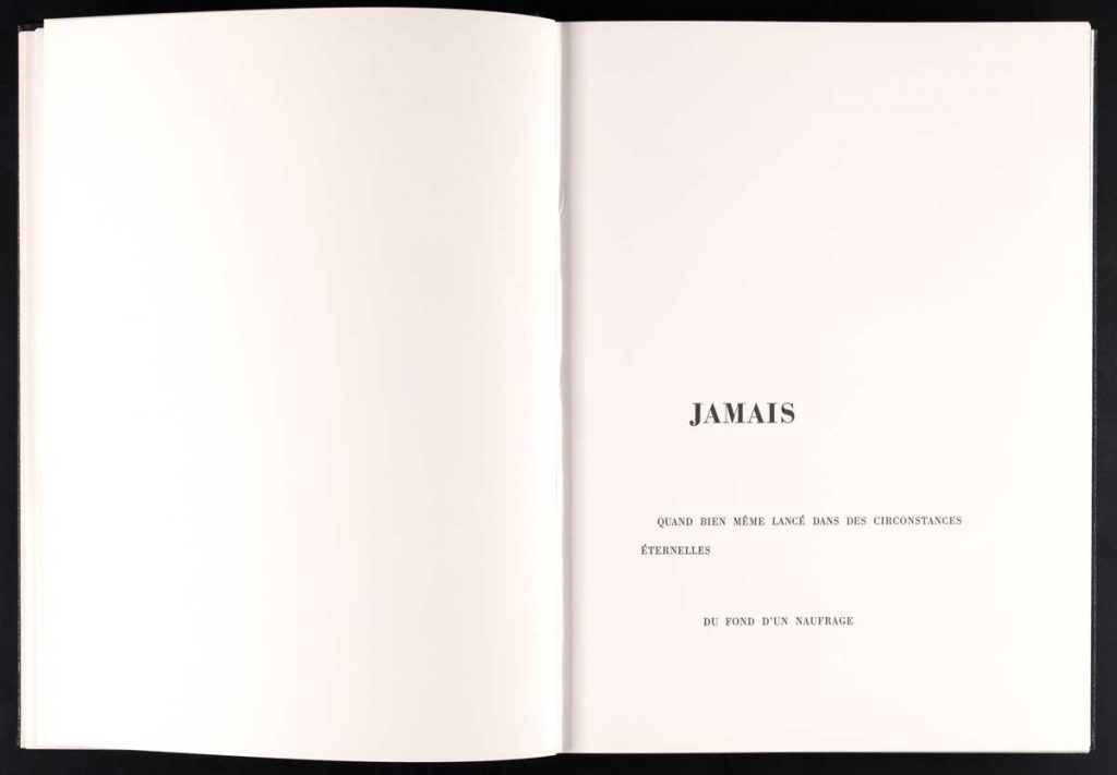 Page from The Limited Editions Club publication of Un Coup de Dés by Stéphane Mallarmé (New York: The Limited Editions Club, 1992).