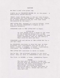 First page of the musical treatment for Ragtime, 1994
