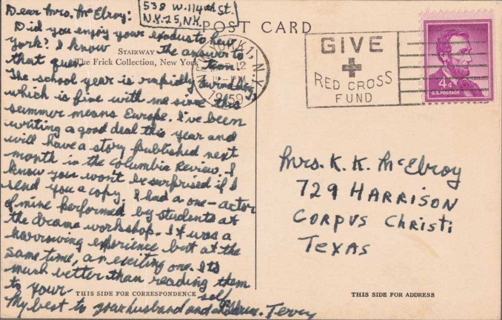 Postcard from Terrence McNally to his high school English teacher Maurine McElroy, 1959