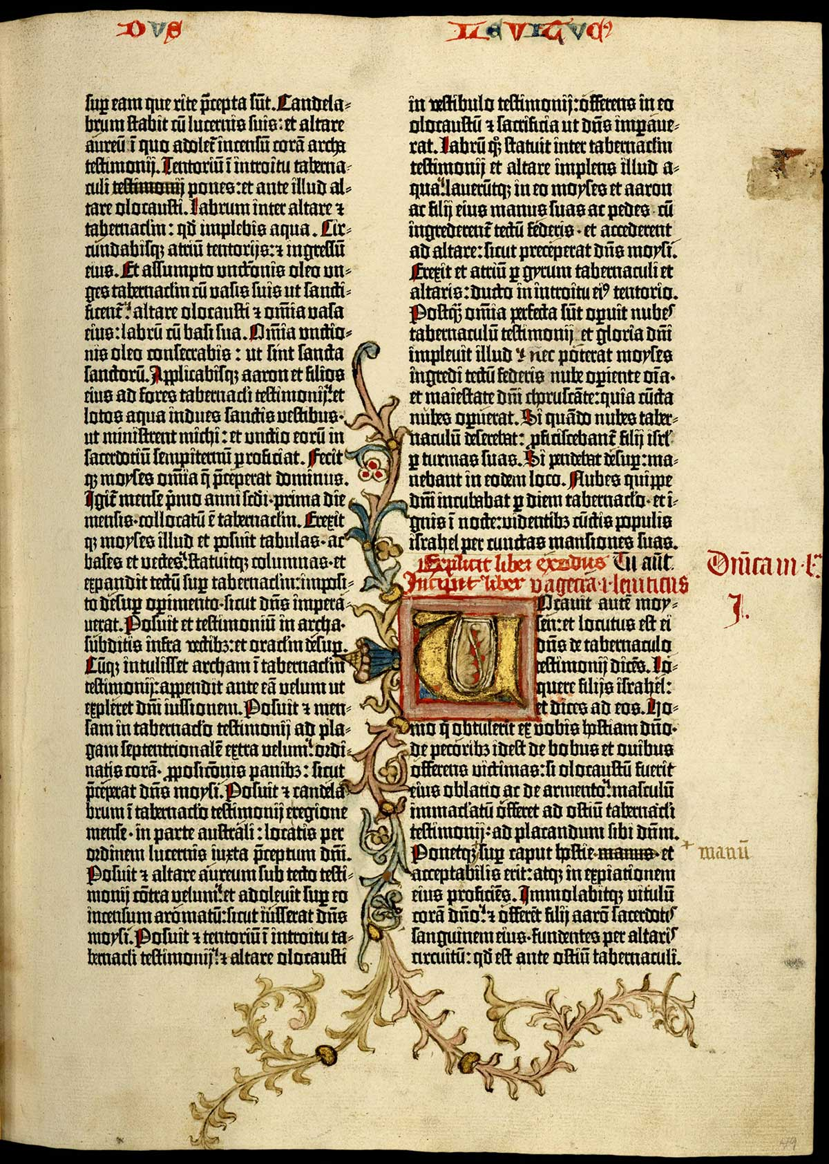 [Biblia latina, commonly known as the Gutenberg Bible (Mainz: Johann Gutenberg and Johann Fust, between 1454 and 1456)], 49 recto. With its red text and elaborately decorated initial, this page showing the beginning of Leviticus is unquestionably indebted to the design conventions of earlier manuscripts.