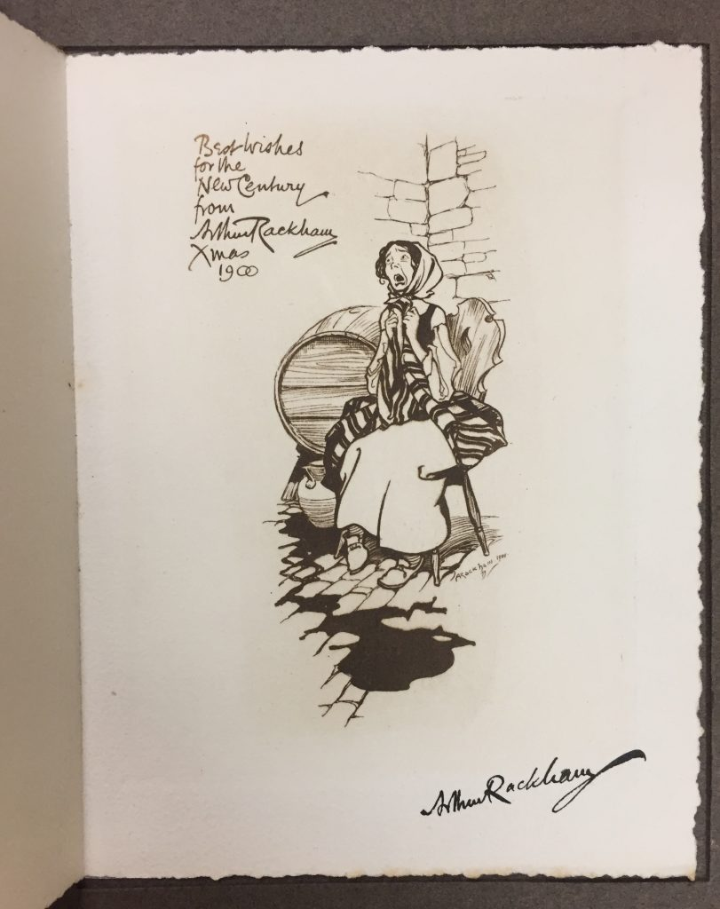 Arthur Rackham, signed holiday greeting card, George L. Lazarus Collection of Arthur Rackham Printed Ephemera, -q-NC 242 R3 G46.