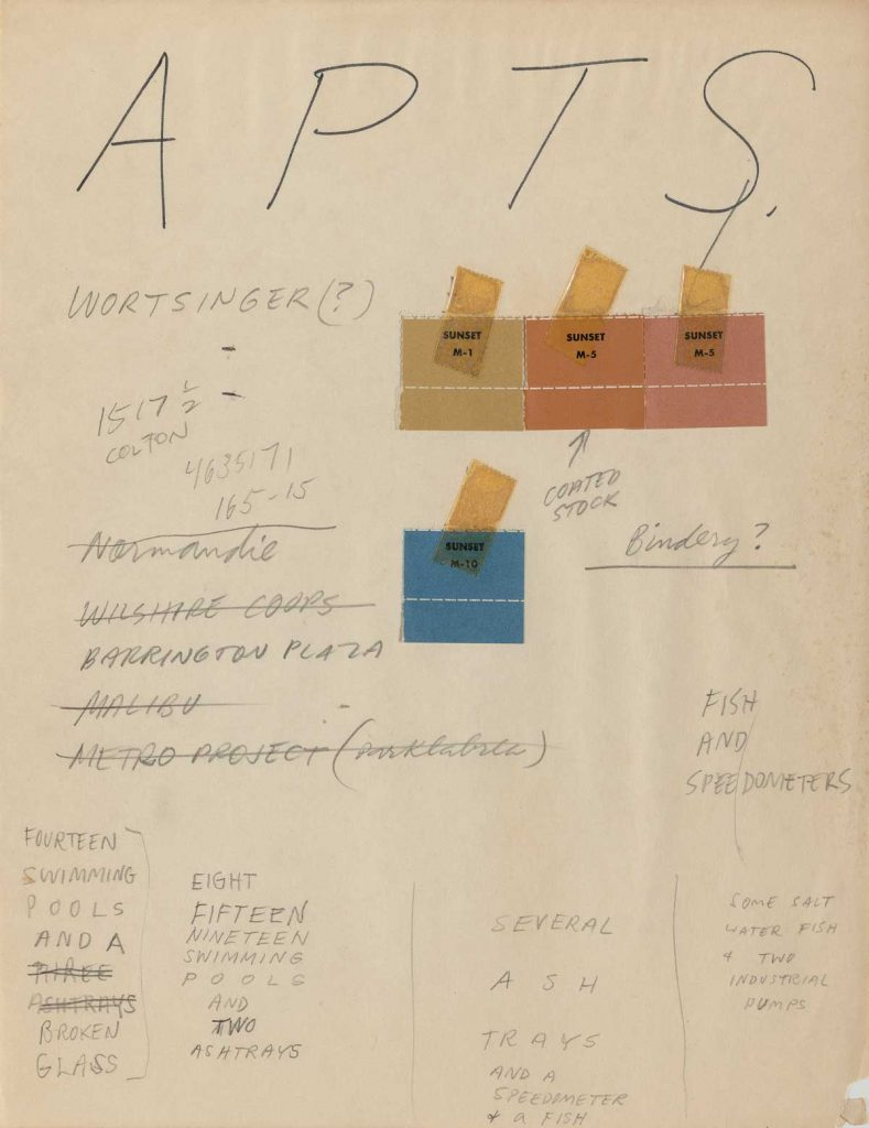 Ed Ruscha (American, b. 1937), Preliminary notes, Some Los Angeles Apartments, 1965. Ink and pencil on paper with color chips, 27.9 x 21.5 cm. Edward Ruscha Papers and Art Collection, 1.8 © Ed Ruscha