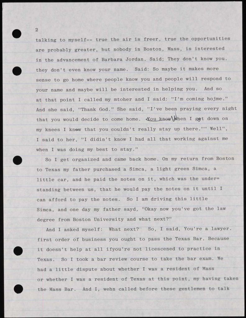 Shelby Hearon, Typescript page for Barbara Jordan: A Self Portrait, 1978, Shelby Hearon Papers, 3.15, Harry Ransom Center.