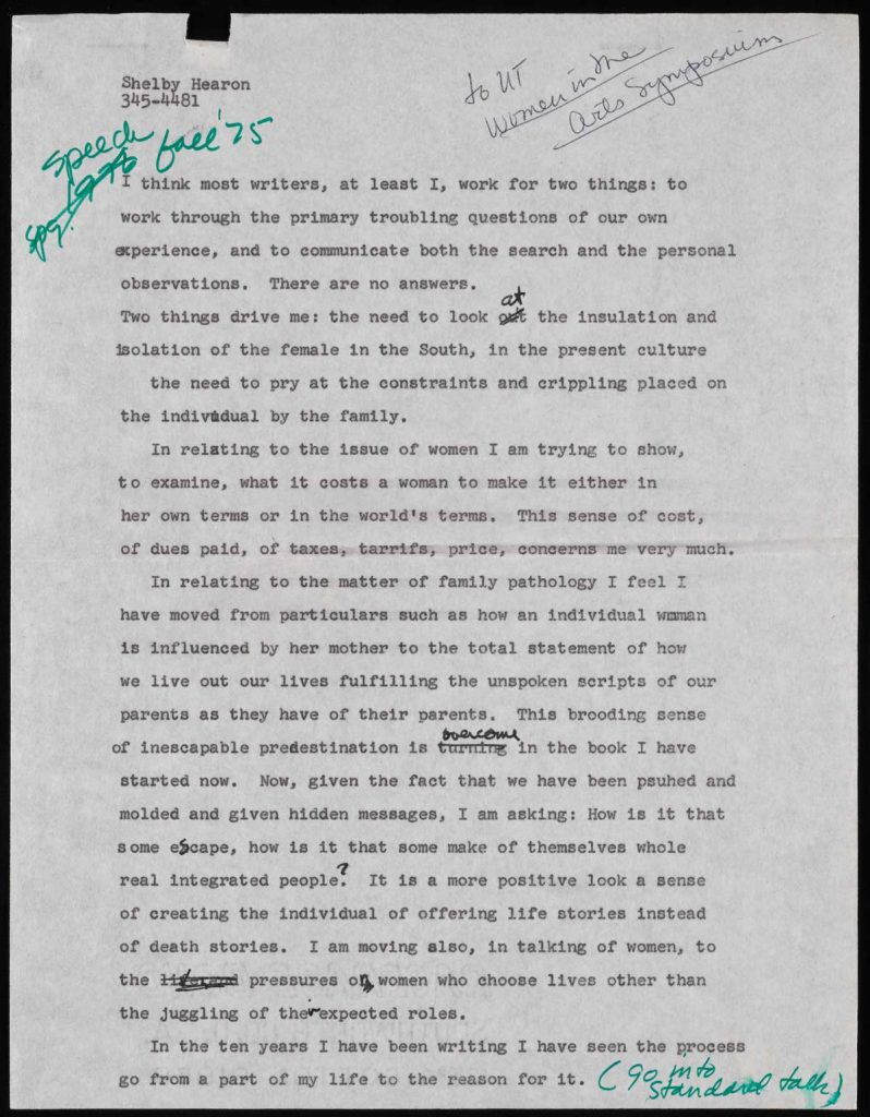 Shelby Hearon, Typescript page for speech to The University of Texas's Women in the Arts Symposium, 1975, Shelby Hearon Papers, 40.3, Harry Ransom Center.