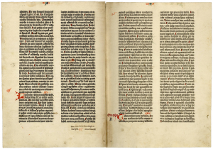 [Biblia latina, commonly known as the Gutenberg Bible (Mainz: Johann Gutenberg and Johann Fust, between 1454 and 1456)], 40 verso and 41 recto.