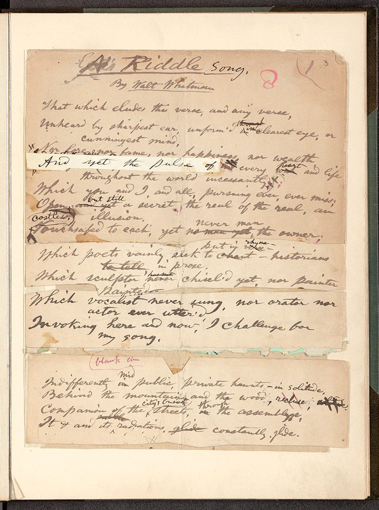 Whitman draft manuscript of A Riddle Song