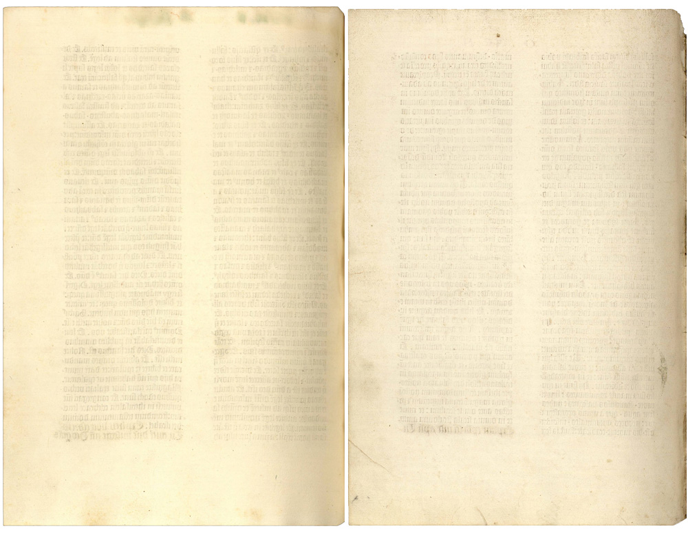 Two blank pages in the Ransom Center's Gutenberg Bible, fols. 246 verso and 633 verso.