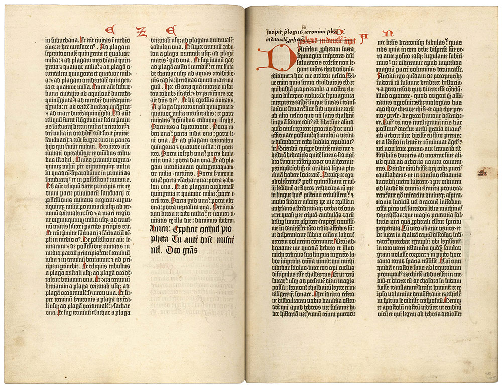 Leaves 454 verso and 455 recto of the Ransom Center's Gutenberg Bible.
