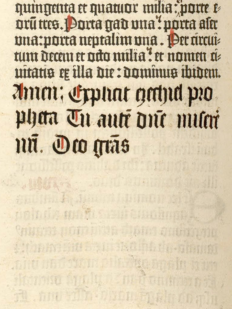 Gutenberg Bible, fol. 454 verso (detail).