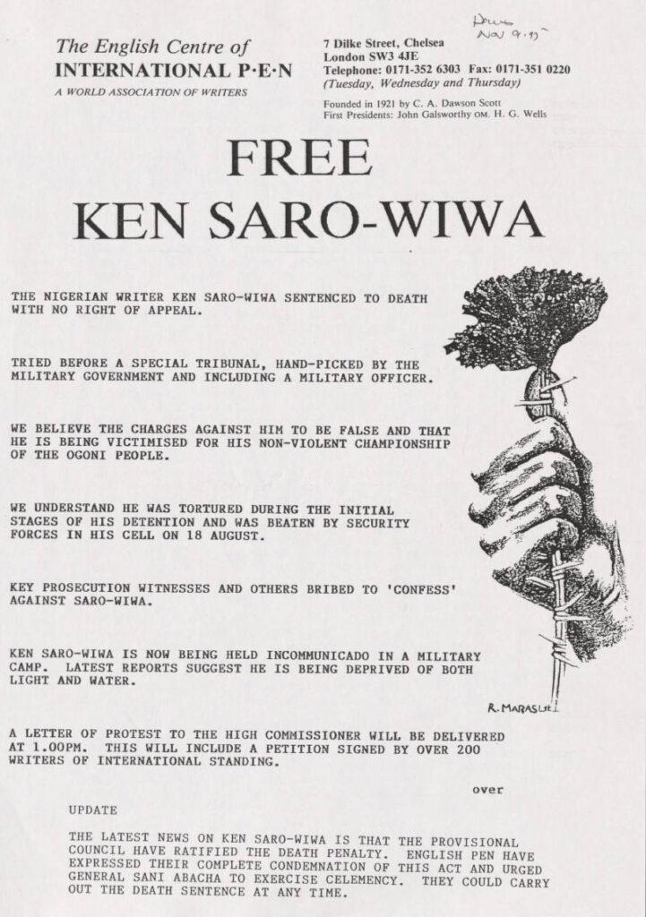 Free Ken Saro-WIWA poster