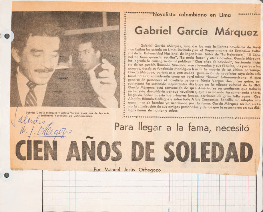 "Newspaper clipping about Gabriel García Márquez's One Hundred Years of Solitude with headline: ""Para llegar a la fama, necessitó CIEN AÑOS DE SOLEDAD."""