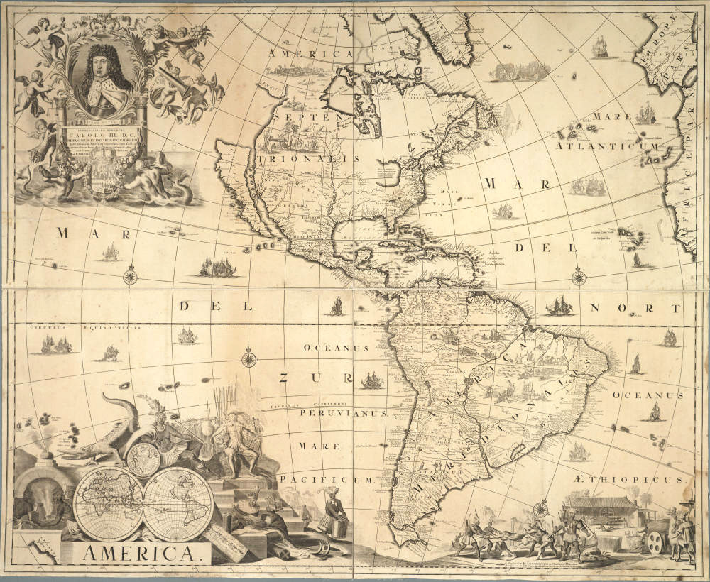 "Map of ""AMERICA"" (1706-1710?) by Amsterdam firm of Covens and Mortier."