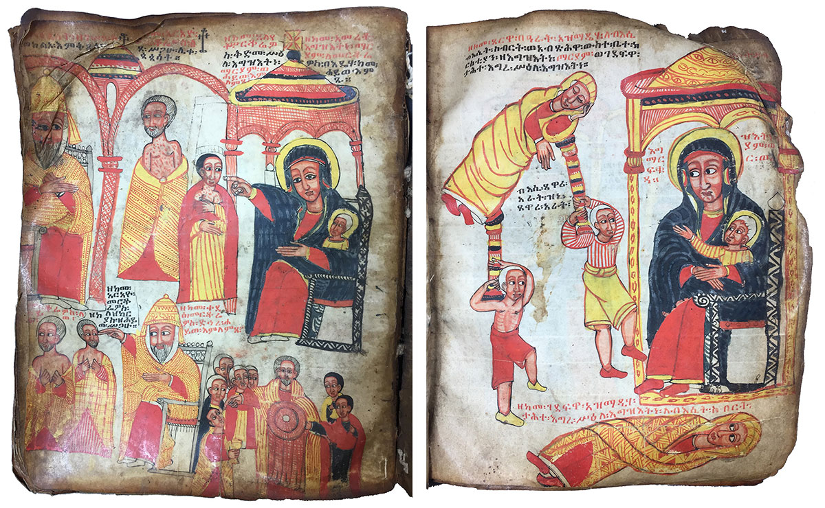 Two nonconsecutive pages from a scribal manuscript of Täˀammərä Maryam (Miracles of Mary), Ethiopia(?), 16th and 17th centuries. Eastern Manuscripts Collection, 8. Written in Gə'əz, an ancient Ethiopic language, this manuscript narrates—and illustrates—miracles believed to have been performed by the Virgin Mary.