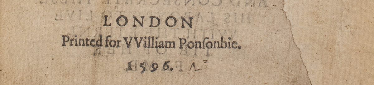 """Selection from Edmund Spenser, The Faerie Queene (London: William Ponsonby, 1596). Harry Ransom Center Book Collection, uncataloged acquisition. Alongside the title-page imprint, to the right of """"1596,"""" is the manuscript cipher used by an early secondhand bookseller to record the price they paid its previous owner for the book."""