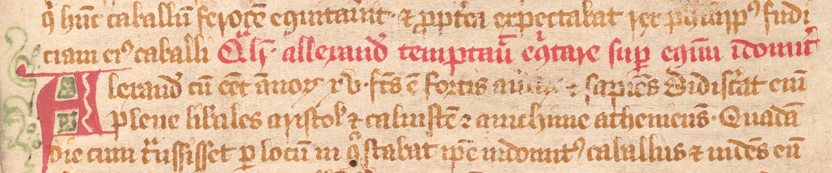 Selection from a scribal manuscript of the Vita et gesta Alexandri Magni, England, 13th century, fol. 8r. Medieval and Early Modern Manuscripts Collection, HRC 33. The Latin text, written in the gothic book hand of a trained scribe, is heavily abbreviated.