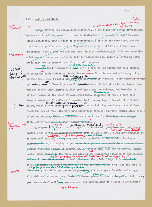 Draft of the first chapter of the third part of Metroland by Julian Barnes, 1980. Julian Barnes Papers 1971-2000, Box 5, Folder 1, Harry Ransom Center. © Julian Barnes.
