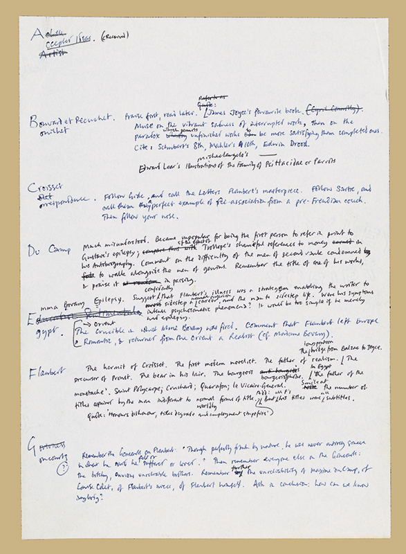 "Handwritten draft of ""Braithwaite's Dictionary of Accepted Ideas"" in Flaubert's Parrot by Julian Barnes, 1984. Julian Barnes Papers 1971-2000, Box 5, Folder 1, Harry Ransom Center. © Julian Barnes."