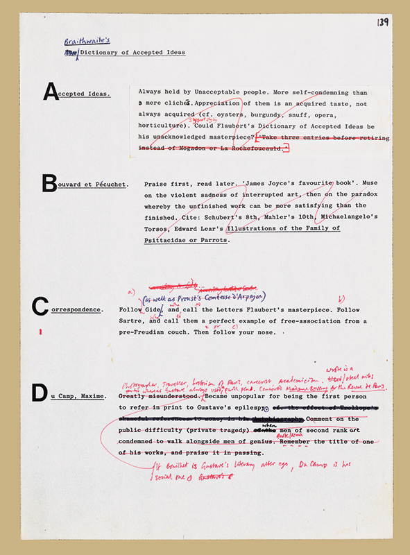"Draft typescript with corrections of ""Braithwaite's Dictionary of Accepted Ideas"" in Flaubert's Parrot by Julian Barnes, 1984. Julian Barnes Papers 1971-2000, Box 5, Folder 1, Harry Ransom Center. © Julian Barnes."
