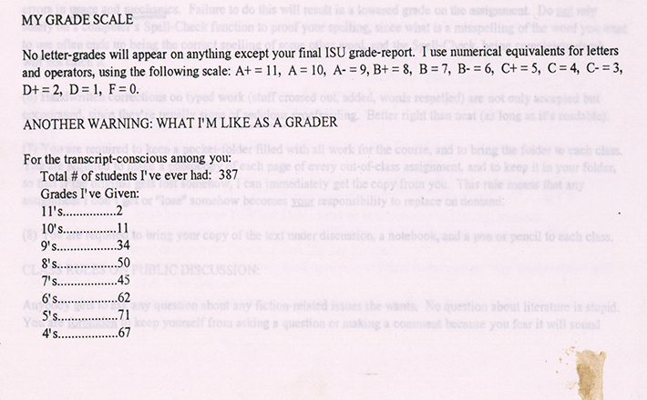 Detail showing the grading scale on a syllabus for a class David Foster Wallace taught in the Fall of 1994. © David Foster Wallace Literary Trust.