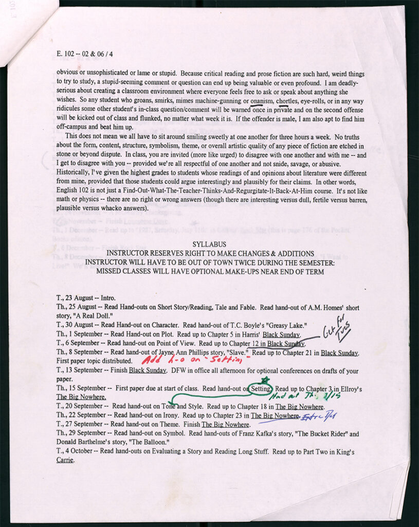 David Foster Wallace's syllabus for a class, Literary Analysis I: Prose Fiction, he taught in the Fall of 1994. © David Foster Wallace Literary Trust.