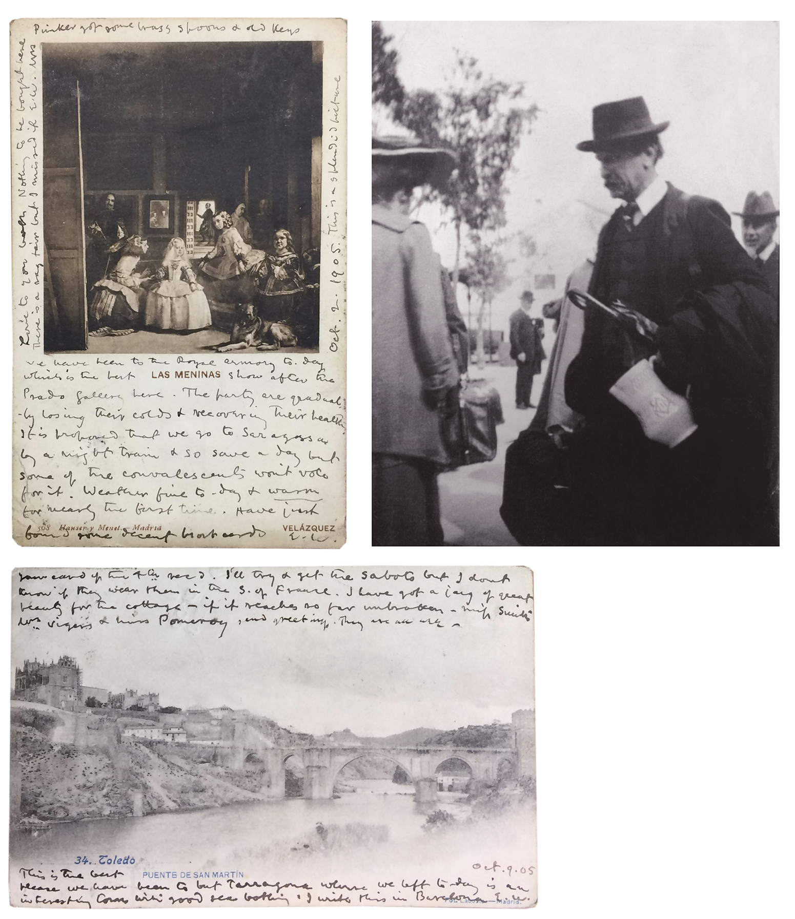 A second and closer examination of these two postcards in the Center's collection explains why,  in the photograph of Walker in Toledo in 1905, he is wearing so many clothes in southern Spain in autumn. The postcard (top left) reveals that, in fact, the weather had been very poor, and all the group had caught colds. The postcard below relates Walker's acquisition of a jug, which did indeed make it safely home, and can still be seen in Emery Walker's House, 7 Hammersmith Terrace, London. Postcards from the Sir Emery Walker Collection, Harry Ransom Center. Photograph of Walker courtesy of The Emery Walker Trust, London.Through this past research experience, I knew not to be downhearted by these initially slow, non-fulfilled expectations, and thanks to the Ransom Center, time was on my side. I undoubtedly needed to rethink my approach—or alternatively put planning to one side and let the material speak to me, to offer its own possibilities for interpretation. I decided just to read, and see what ideas might come.