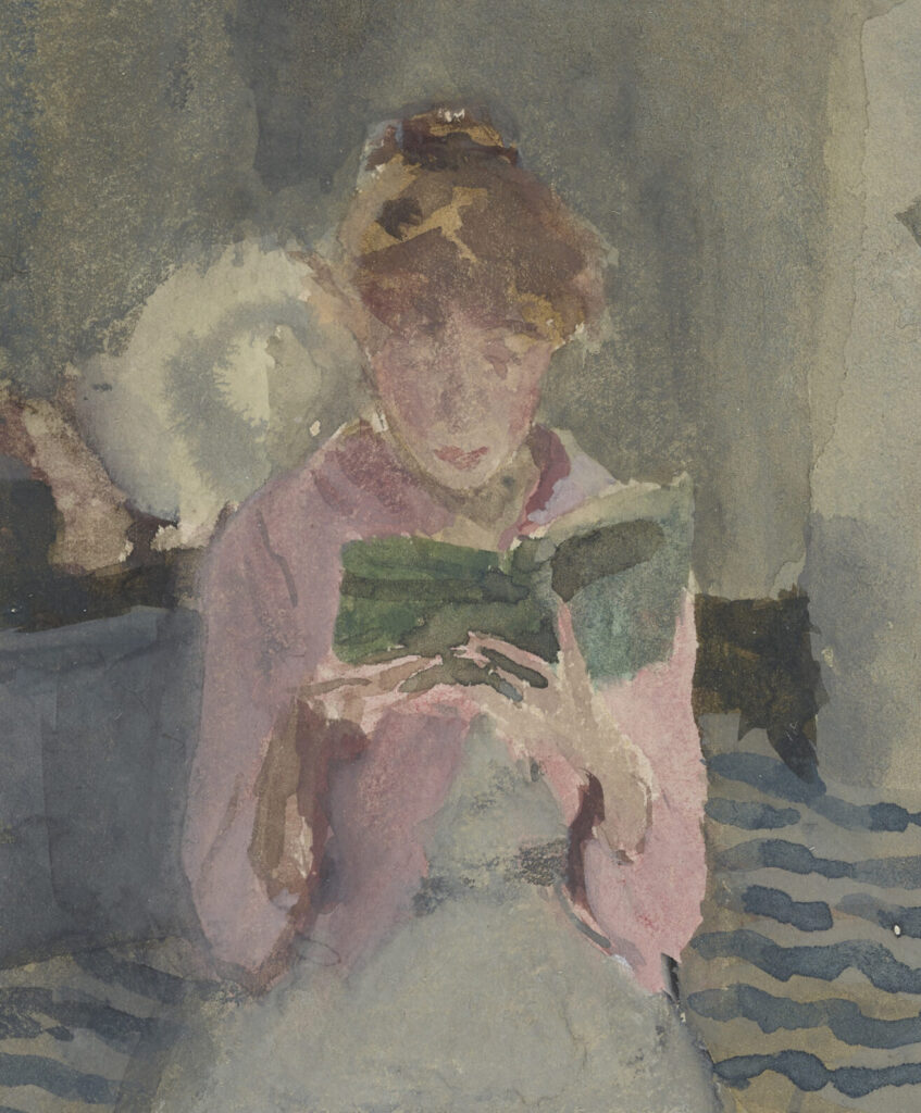 Detail from the painting, Pink Note–The Novelette, by James McNeill Whistler, 1883-1884.[2] (See the full image on the Smithsonian site).