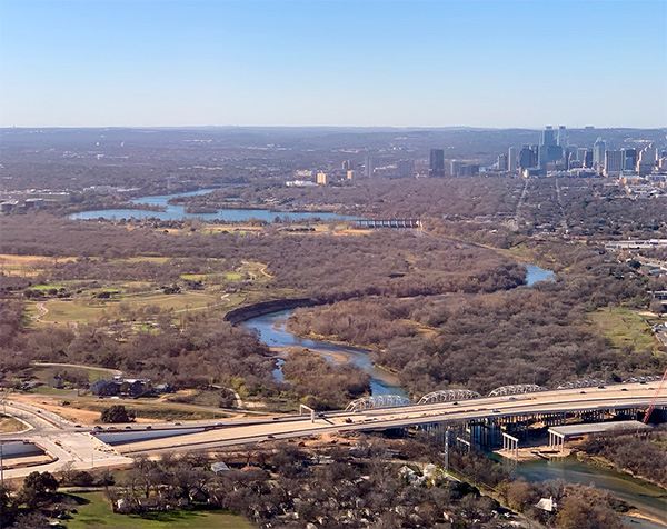 Aerial view of the Colorado River in Austin, Texas. Photo by the author (2020).
