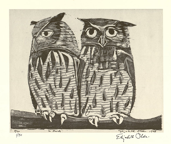 2 Owls by Elizabeth Olds (American, 1896–1991), a 1989 lithographic reprint of an 1968 original woodblock print. Harry Ransom Center at The University of Texas at Austin.