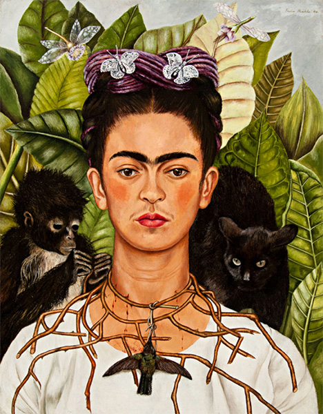 Hummingbird portrayed on Frida Kahlo (Mexican, 1907–1954), Untitled [Self-portrait with thorn necklace and hummingbird], 1940. Oil on canvas mounted to board. Nickolas Muray Collection of Mexican Art, 66.6 © 2020 Banco de México Diego Rivera Frida Kahlo Museums Trust, Mexico, D.F. / Artists Rights Society (ARS), New York.