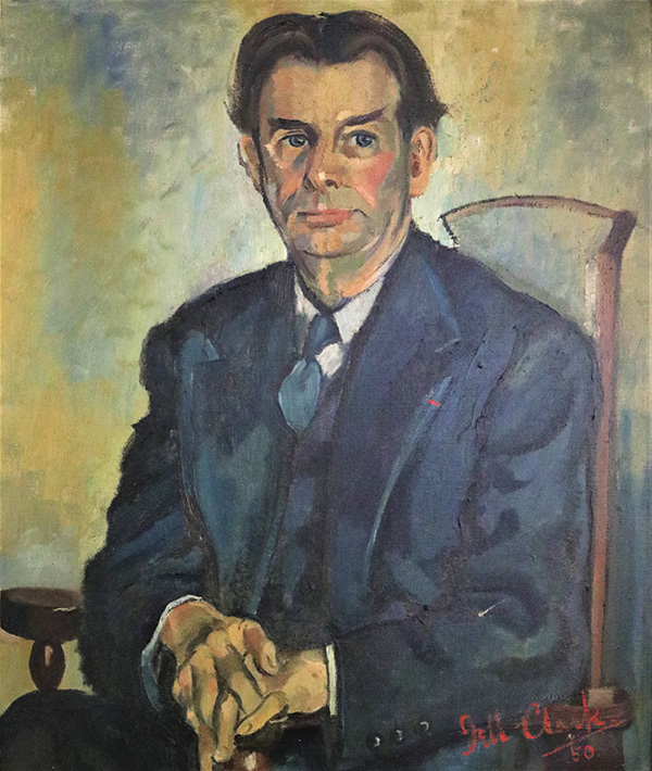 Painting of seated man