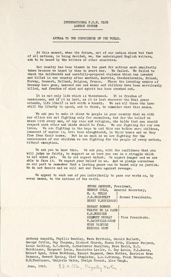 Letter of declaration