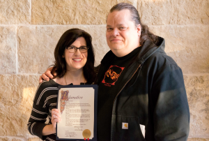 "Susan Svedeman & Chris Lueck at ""Cactus Cafe Day"" proclamation"