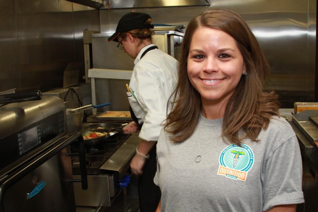 Lindsay Gaydos Wilson checking out gluten-free food prep at Cypress Bend Cafe