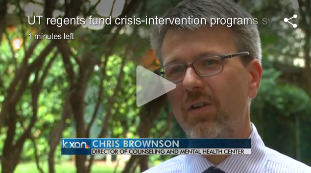 Chris Brownson discussing UT System initiative with KXAN-TV