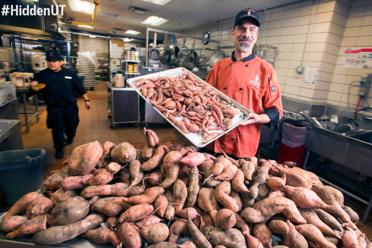 Chef Robert Mayberry and Thanksgiving sweet potatoes from the UT Micro Farm