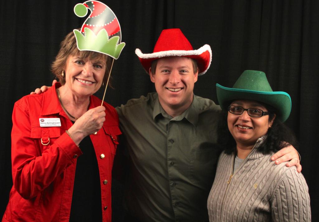 Donna Bellinghausen, Justin Jaskowiak & Hemlata Jhaveri at the Division Staff Holiday Celebration