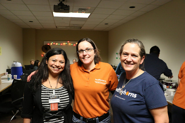 LeAnn Gutierrez, Tara Cutler and Katherine Green enjoy the UHS Staff Chili Cook-Off.