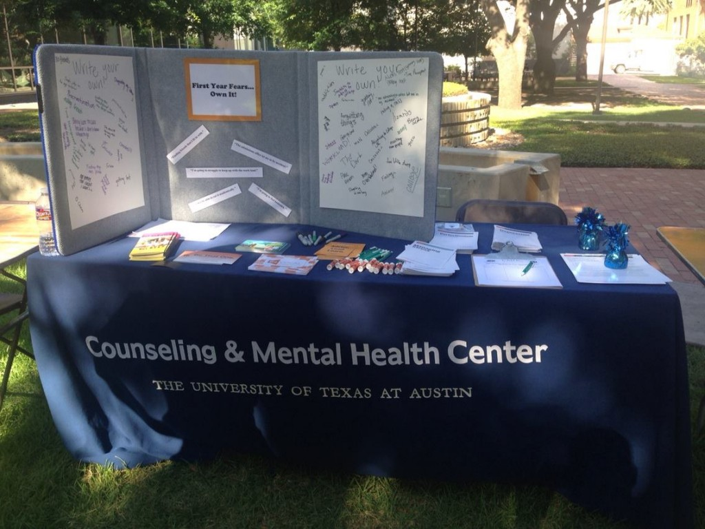 """First Year Fears"" booth during UT Orientation"