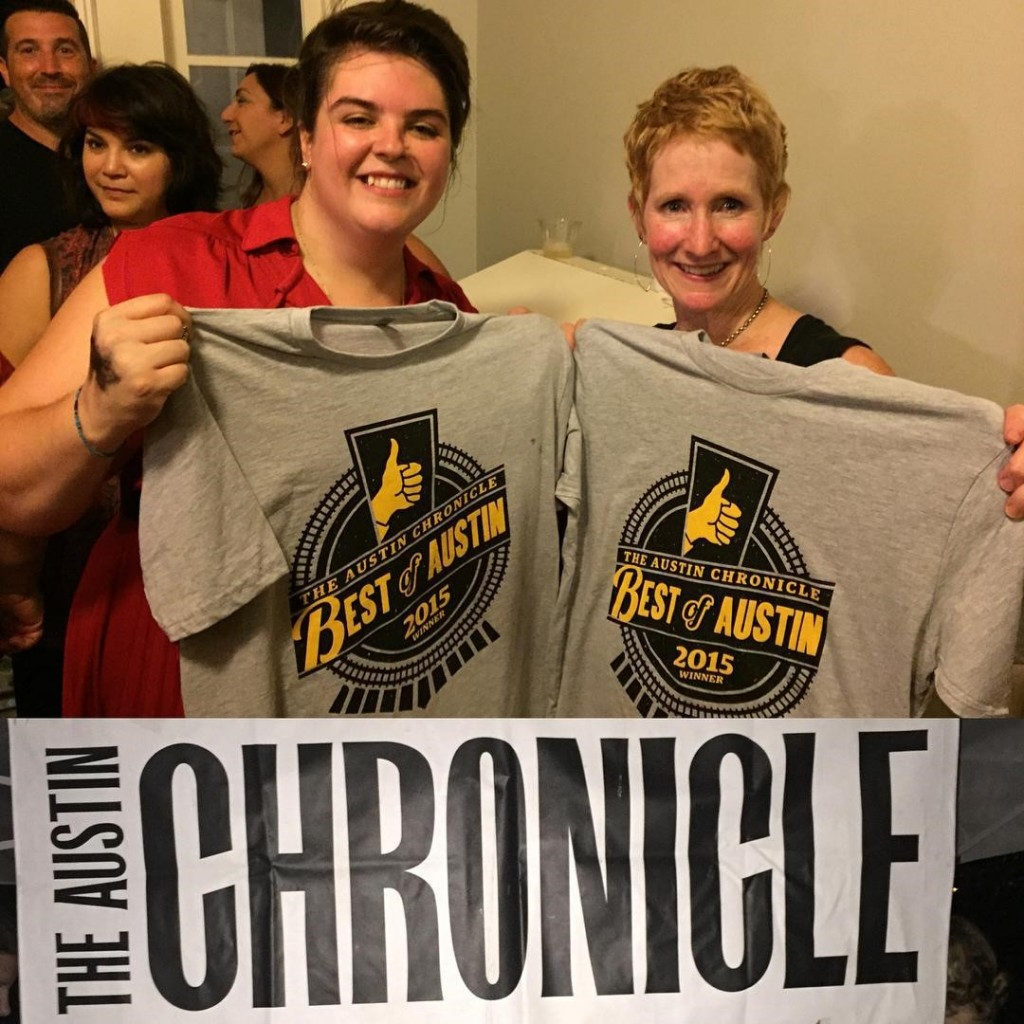 """CMHC's Erin Burrows, prevention and outreach specialist, and Lynn Hoare, theater for dialogue specialist, at the Austin Chronicle's """"Best of Austin"""" awards"""