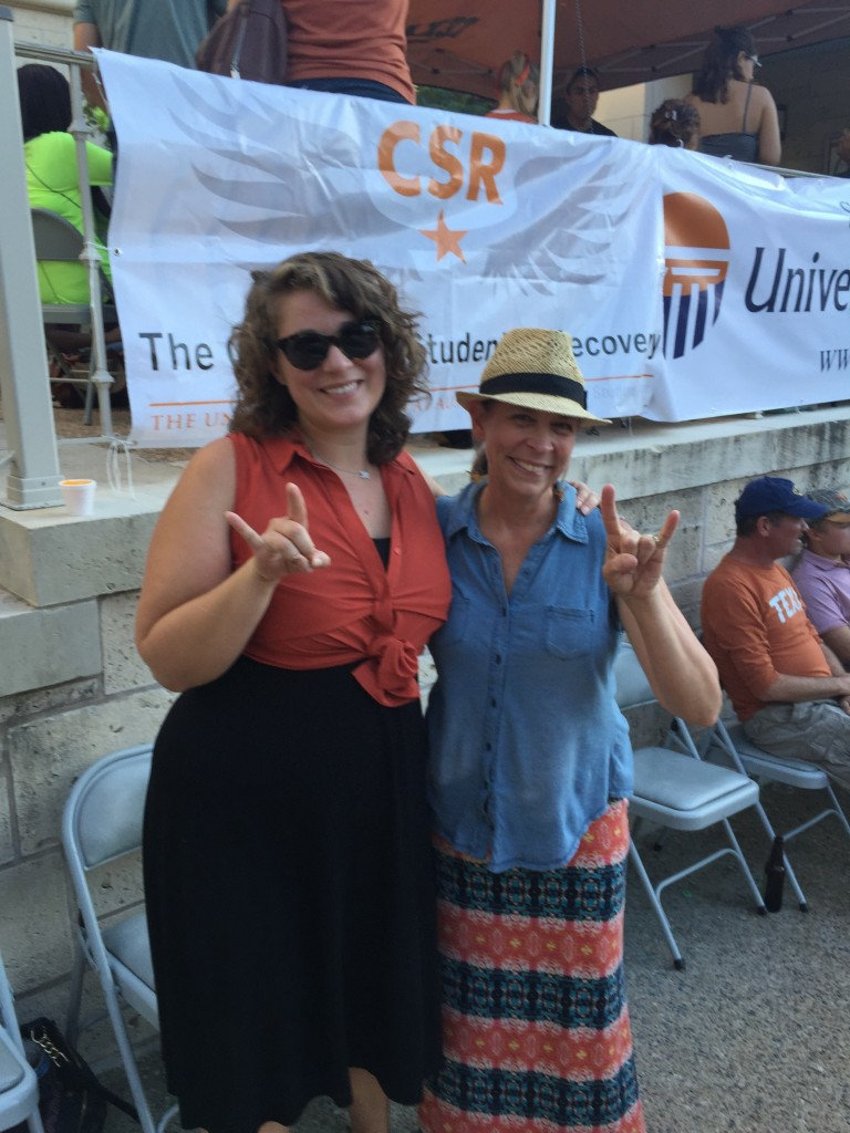 •CSR Director Sierra Castedo with University High School (a UT Charter School) Executive Director Julie McElrath at the Sober Tailgate
