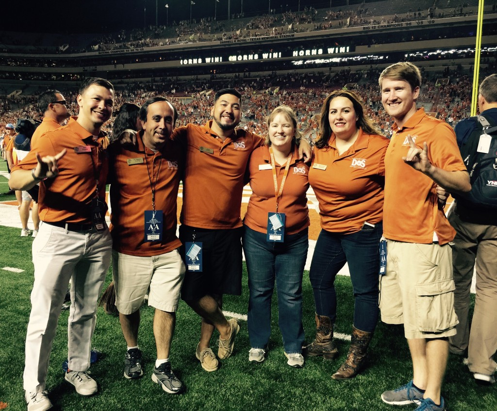 DoS staff on the field for rally duty at the first home football game (left to right: Alex Kappus, Denny Bubrig, Reed Rallojay, Susan Buckenmeyer, MK Kennedy & Kyle St Nicholas).