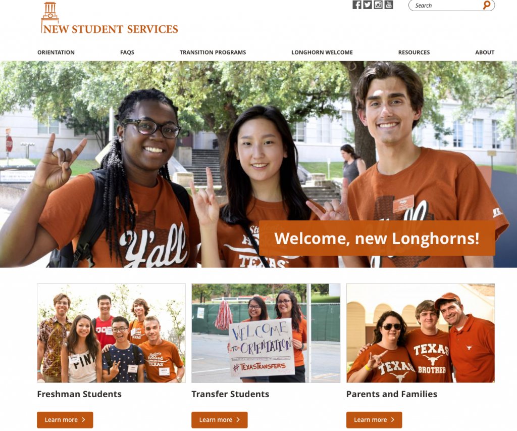 New Student Services website